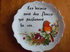 ASSIETTE MURALE Proverbe en PORCELAINE oiseaux nid Diamètre 21 cm 390 grammes
