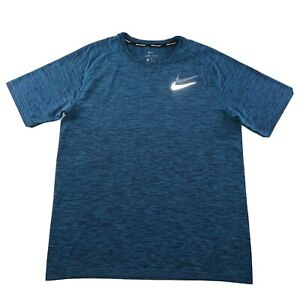 Men's Nike Running Dri-Fit 3M Reflective Logo Shirt Turquoise Blue Size X Large
