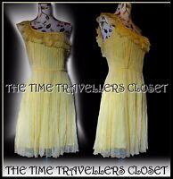 BNWT Kate Moss Topshop Rare Yellow Chiffon Grecian Inspired Ruffle Dress UK10 12