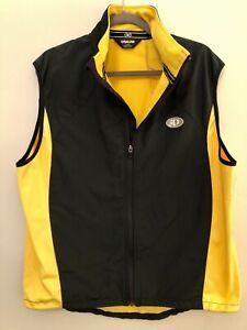 Pearl Izumi Mens Black Yellow Cycling Vest  Full Zip Rear Pocket XL