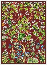 William Morris Red Tree of Life Counted Cross Stitch Chart Pattern
