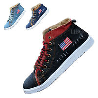 Mens lace up flat hi high top ankle boots trainers sneakers canvas casual shoes