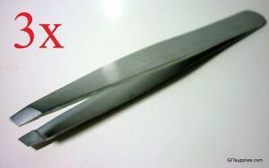 3x BRAND NEW EYEBROW TWEEZER PLUCKER PULLER SLANT TIP, STAINLESS STEEL!! BEAUTY