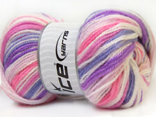 Lot of 4 x 100gr Skeins Ice Yarns GUMBALL Wool Purple Lilac Pink White