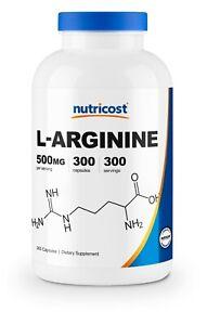 Nutricost L-Arginine 500mg, 300 Capsules - High Quality, Non-GMO & Gluten Free