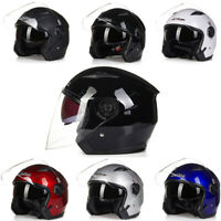 3/4 Open Face Motorcycle Helmet Jet Style Dual Visor Cruiser Scooter M/L/XL/XXL
