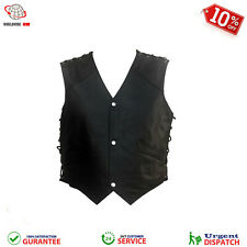 Mens Replica Kiss Army Real Leather Biker Style Motorcycle Vest Fashion Jacket