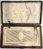 ANTIQUE 1860s SOLID STERLING SILVER ENGRAVED DESIGNED CALLING CARD CASE