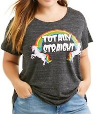 Women's Plus 2XLarge Black Totally Unicorn Crew LGBT Pride Graphic T-Shirt
