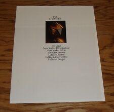 Original 1991 Chrysler Full Line Sales Brochure 91 New Yorker Imperial Lebaron