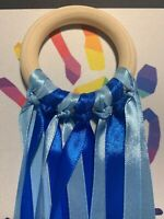 Blue Ribbons Wooden Sensory Ribbon Ring Baby Toy Baby Shower Gift 1 Meter long