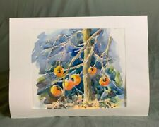 French Watercolour Painting Fruit Ripening on a Tree by Alain Bisoire