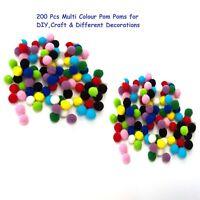 200 Small Tiny Mini Mixed 8mm Pom Poms DIY Craft Pompom different Decorations-UK