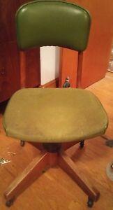 000 W.H. Gunlocke Antique Wood Swivel Bankers Office Desk Jockey Chair Vtg Seat