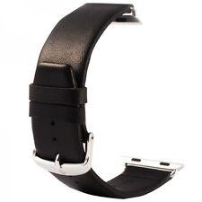 Premium Echtleder Leder Armband Schwarz für Apple Watch 38mm iWatch Zubehör Neu