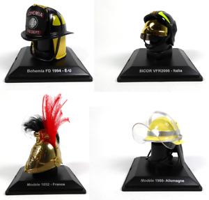 Sammlung von 4 Feuerwehrhelme 1:5 (5cm) - USA France Italy Germany Models LCP2