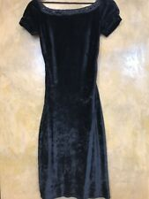 $229 MISS SIXTY Mini Fitted VELVET Open Back Black DRESS XSmall XS NEW