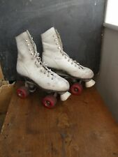 Vintage Ladies white leather Roller Skates,roller derby great condition,freepost
