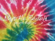 M multi-color TIE DYE EMBROIDERED MYRTLE BEACH, SOUTH CAROLINA t-shirt by HOODS