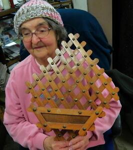 vintage wood & brass lattice letter holder / folk / tramp art old christmas mail