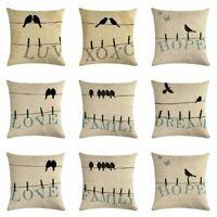 """Love Bird Word Cotton Linen Throw Pillow Case Cushion Cover Home Decor 18""""*18"""""""