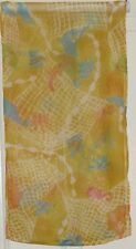 TERRIART Yellow, Aqua, Pink Sealife Sheer 40x10 Long Scarf-Vintage