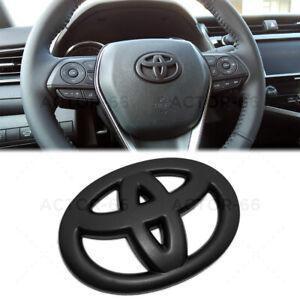 Matte Black Steering Wheel Logo Badge Cover Overlay Emblem For Toyota Decorate