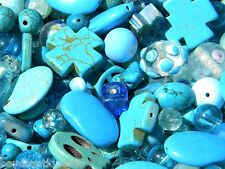 NEW 8/oz Premium Hues of BLUE'S 6-15mm Assorted MIXED LOOSE Beads Lot