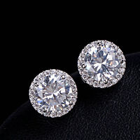 Fine Women Crystal Zircon Inlaid Ear Stud Full Rhinestone Round Earrings Jewelry