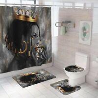 Crown Girl Bathroom Rug Set Shower Curtain Non Slip Toilet Lid Cover Bath Mat