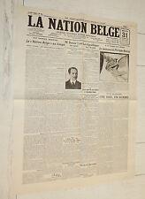 FAC-SIMILE A LA UNE JOURNAL NATION BELGE 31/10 1923  KEMAL TÜRKIYE COLONIE CONGO
