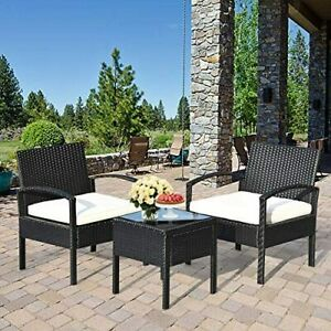 3 Piece Patio Furniture Set with 2 Cushioned Chairs End Table