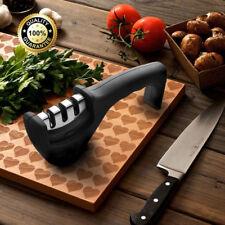 Rutschfest 3-Stufen Diamant Hand-Messerschärfer für Stahl- & Keramikklingen WOW