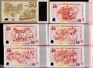 SINGAPORE 10 x 5 , 50 Dollars Complete UNC Set 2015 POLYMER SG Commemorative LKY