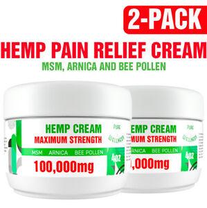 Natural Pain Relief Cream 100,000mg Hemp Seed Oil MSM Arnica Bee Pollen (2 Pack)