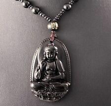 Black Carved Obsidian Buddha Pendant Necklace w/Free Jewelry Box and Shipping