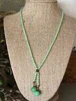 Soft Spring Greed Jade Glass Beaded Bohemian Vintage Czech Bead Necklace Jewelry