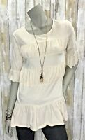 Sundance XS Blush Pink Tiered Ruffle High Low 3/4 Sleeve Top Shirt Blouse Cotton