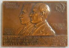 """OLD WRIGHT BROTHERS MEDAL FROM CONGRESS 1907 US MINT BRONZE MEDAL 2 1/2"""" X 3"""""""