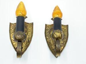 Antique Pair of  Iron Sconces Shield Backplate Original Finish Hand Made