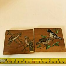 Vintage Bird Artwork paintings on wood Squares artist signed wall hanging  EUC
