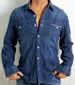 mens - EXPRESS shirt - L - FITTED - DENIM - BUTTON POCKETS - Blue - Cotton
