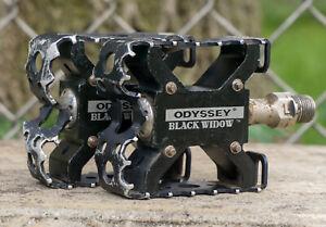 Odyssey Black Widow Mini Pedals Vintage Mid School BMX Bike Freestyle GT Redline