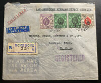 1937 Hong Kong First Direct Flight Airmail Cover FFC to Seattle Wa USA