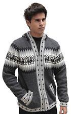 Mens Alpaca Wool Knitted Jacket Hooded Sweater Little Llamas Peru Size L Gray