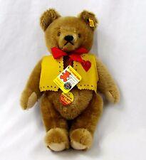 """14"""" Vtg 1985 Steiff Original Mohair Cinnamon Valentine Vest Teddy Bear 0211/36"""