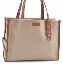 Authentic Burberry Nova Canvas Shoulder Tote Bag Brown Beige Brown C9815