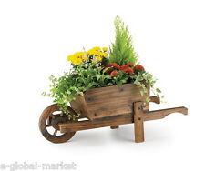 Wooden Wheel Barrow Planter Garden Plants Flower Pot Outdoor Ornament Decor Wood