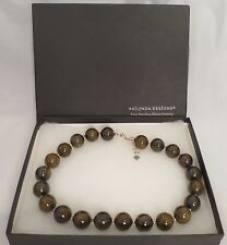 Silpada Bronzite Sterling Silver & Bead Spacers & Closer Necklace Original Box