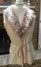 NWT H & M L.O.G.G. L Cream Cable Knit/ Waffle Knit Sweater Faux Fur Collar Vest